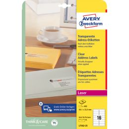 AVERY Zweckform Transparente Adress-Etiketten, 38,1 x 21,2mm