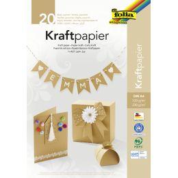 folia Kraftpapier-Block, DIN A4, 20 Blatt, sortiert