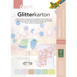 folia Glitterkarton-Block Pastell, 170 x 245 mm, 300 g/qm