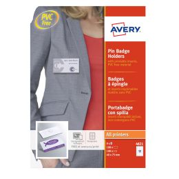 AVERY Namensschild mit Wellennadel, 90 x 60 mm