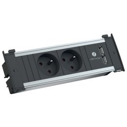 BACHMANN Steckdoseneinheit KAPSA S, 2-fach, UTE, 2x USB, 2 m