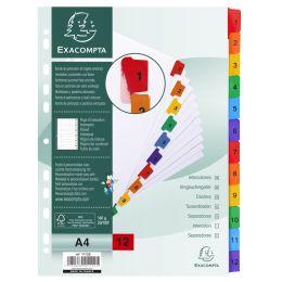 EXACOMPTA Karton-Register 1-12, DIN A4, weiß, 12-teilig