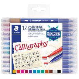 STAEDTLER Kalligraphie-Doppel-Fasermaler, 12er Etui