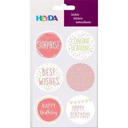 HEYDA Geschenke-Sticker Birthday, Durchmesser: 40 mm