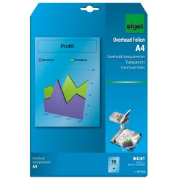 sigel Inkjet-Folie, DIN A4, transparent, klar, 100 my