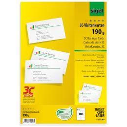 sigel Visitenkarten 3C, 85 x 55 mm, 190 g/qm, hochweiß