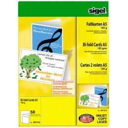 sigel PC-Faltkarten, A5 (A4), 185 g/qm, hochweiß, Edelkarton