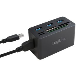 LogiLink USB 3.0 Hub mit All-in-One Card Reader, schwarz