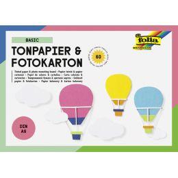 folia Tonpapier- und Fotokarton-Block BASIC, A6, 60 Blatt