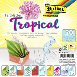 folia Faltblätter-Set Tropical, 150 x 150 mm, 50 Blatt
