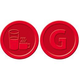 sigel Wertmarken Getränke, aus Kunststoff, rot