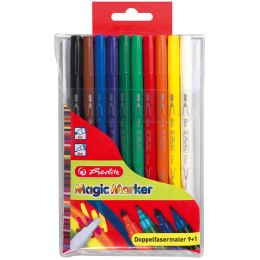 herlitz Doppel-Fasermaler Magic Colour, 10er Kunststoff-Etui