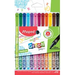 Maped Fasermaler GraphPeps medium Deco, 12er Etui