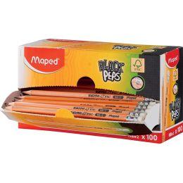 Maped Bleistift BLACKPEPS, mit Radierer, 100er Displaybox