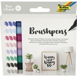 folia Pinselstift Brush Pens Basic & Pastell, 8er Set
