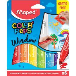 Maped Fenstermarker, farbig sortiert, 6er Kartonetui