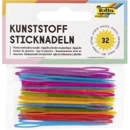 folia Kunststoff-Sticknadeln, 65 x 1,8 mm, farbig sortiert