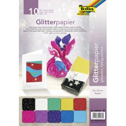 folia Glitterpapier, 70 g/qm, 230 x 330 mm, farbig sortiert
