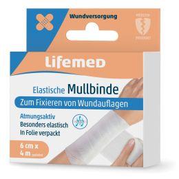 Lifemed Mullbinde elastisch, weiß, 60 mm x 4,0 m