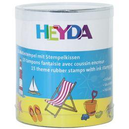 HEYDA Motivstempel-Set Urlaub, Klarsicht-Runddose