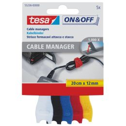 tesa On & Off Klett-Kabelbinder Cable Manager small, farbig