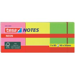 tesa Neon Notes Haftnotizen, 40 x 50 mm, 3-farbig