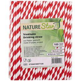 NATURE Star Papier-Trinkhalm, 197 mm, rot/weiß gestreift