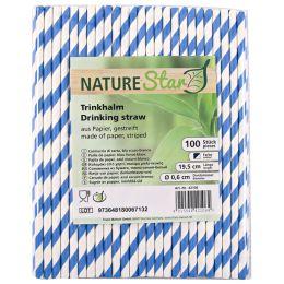 NATURE Star Papier-Trinkhalm, 197 mm, dunkelblau/weiß