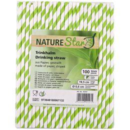 NATURE Star Papier-Trinkhalm, 197 mm, grün/weiß gestreift