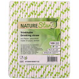 NATURE Star Papier-Trinkhalm, 197 mm, grün/weiß gepunktet