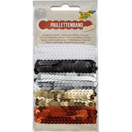folia Paillettenband Classic, 5 x 1 m, farbig sortiert