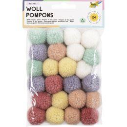 folia Woll-Pompons Pastell, 24 Stück, farbig sortiert