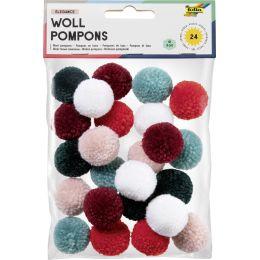 folia Woll-Pompons Elegance, 24 Stück, farbig sortiert