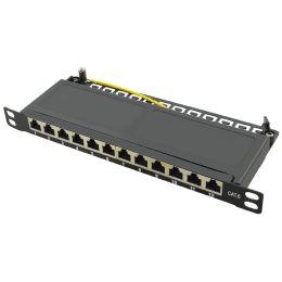 LogiLink 10 Patch Panel Kat.6A, 12 Ports, schwarz, 0,5 HE
