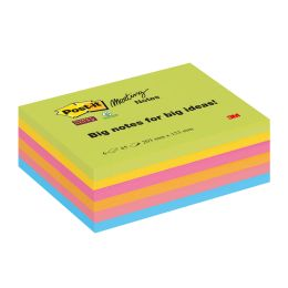 Post-it Meeting Notes Super Sticky, 152 x 203 mm, 4-farbig