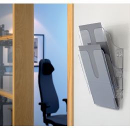 DURABLE Wand-Prospekthalter FLEXIPLUS 2, A4, 2 Fächer