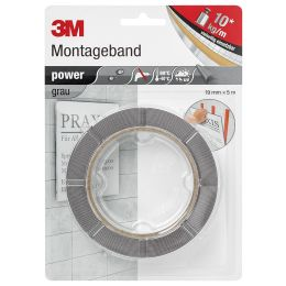 3M Montageband power, 19 mm x 5 m, grau