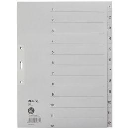 LEITZ Tauenpapier-Register, Zahlen, A4 Überbreite, 1-12,grau
