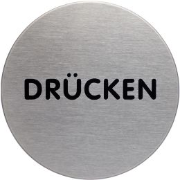 DURABLE Piktogramm Drücken, Durchmesser: 65 mm, silber