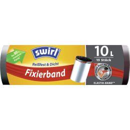 swirl Mülleimerbeutel, mit Fixierband, schwarz, 10 Liter