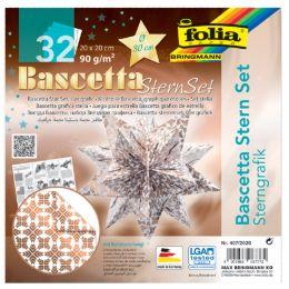 folia Faltblätter Bascetta-Stern, 200 x 200 mm, weiß/kupfer