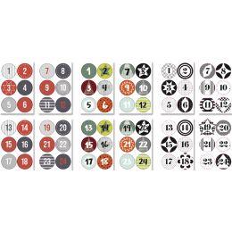folia Weihnachts-Sticker ADVENTSKALENDER, sortiert