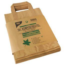 PAPSTAR Kompostbeutel mit Henkel, braun, 10 Liter, 15er