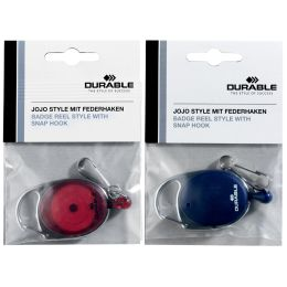 DURABLE Ausweishalter mit Jojo, oval, rot/transparent