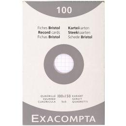 EXACOMPTA Karteikarten, 100 x 150 mm, kariert, weiß