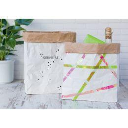 HEYDA Papier Dekobeutel/Geschenktüte, weiß / natur, groß