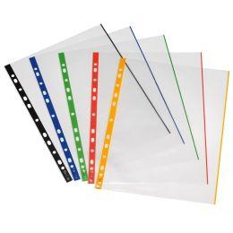 herlitz Prospekthülle, DIN A4, glasklar, farbiger Außenrand