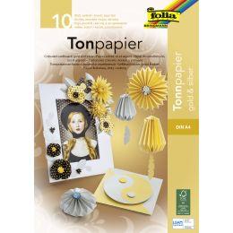 folia Tonpapierblock, DIN A4, 130 g/qm, gold und silber