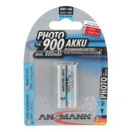 ANSMANN Photo NiMH Akku, Micro AAA, 900 mAh, 2er Blister