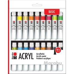 Marabu Acrylfarben-Set, 18 x 12 ml, farbig sortiert